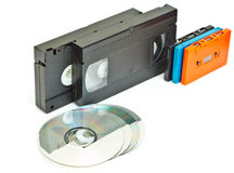 Cassette  video and cd. Stock Photo