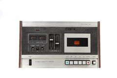Cassette Vintage Tape Recording Device Isolated. On White Background royalty free stock photos