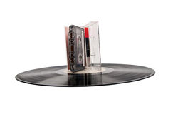 Cassette and vinyl record Stock Photography