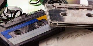 Cassette vinylverslag, analoge audioband en CD schijf Royalty-vrije Stock Afbeelding