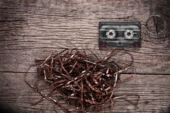 Cassette on wooden background Stock Image