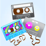 Cassette3. Illustration set of three different tape cassettes Royalty Free Stock Image