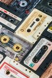 Cassettebanden van verschillende firma's Maxell, Sakura, Svema enz. Stock Fotografie