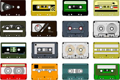 Cassettes. Set of audio cassette tapes on a white background Royalty Free Stock Image