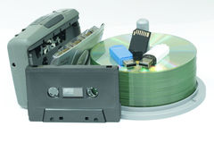 Cassettes and CD on white background Royalty Free Stock Images