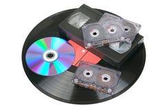 Cassettes de disque de vinyle, audio et vidéo Image libre de droits