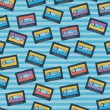 Cassettes pattern set on pop art linear color background. Vector illustration Stock Photos