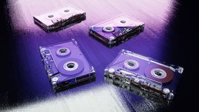 Cassettes sonores sur la surface en bois bleue Rétro concept de musique rendu 3d Images stock