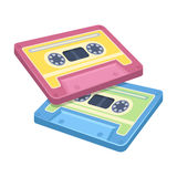 Cassettes for tape recorder.Hippy single icon in cartoon style rater,bitmap symbol stock illustration web. Stock Photos
