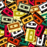 Cassettes vector seamless pattern In Retro style. Royalty Free Stock Photo