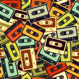 Cassettes vector seamless pattern In Retro style. Royalty Free Stock Photography