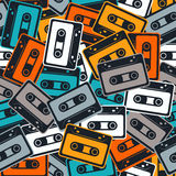 Cassettes vector seamless pattern In Retro style. Royalty Free Stock Image