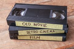Cassettes VHS with old films on wooden boards Stock Photos