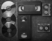 Cassettes vidéo de configuration plate, CD& x27 ; s, cassette sonore photo stock