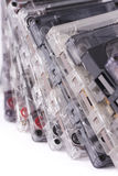 Cassettes viejos en el fondo blanco imagenes de archivo