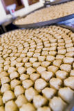 Cassetti delle pasticcerie del Baklava in un ristorante arabo fotografia stock