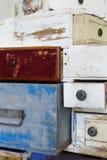 Cassetti di legno dipinti Fotografia Stock