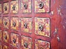 Cassetto di legno cinese rosso Immagine Stock Libera da Diritti
