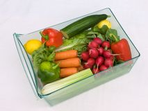 Cassetto di verdure uno del frigorifero fotografie stock