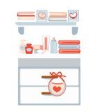 Cassettone con i cosmetici ed i libri sugli scaffali royalty illustrazione gratis