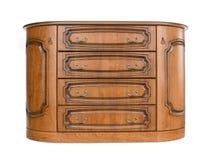 Cassettone di legno antico isolato su fondo bianco Fotografie Stock
