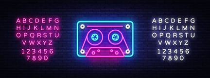 Cassetts for tape recorder neon sign vector. Retro Music Design template neon sign, Retro Style 80-90s, celebration. Light banner, tape recorder, nightly bright royalty free illustration