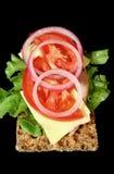 Casseur de Rye avec du jambon et la salade Photo stock