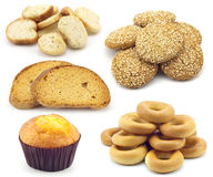 Casseurs, pains, bagels, et raccords en caoutchouc Photographie stock