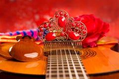 Cassic hiszpańska gitara z flamenco elementami Zdjęcia Royalty Free