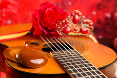 Cassic spanish guitar with flamenco elements Stock Photos