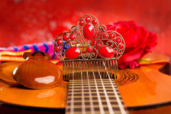Cassic spanish guitar with flamenco elements Royalty Free Stock Photos