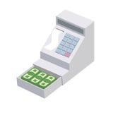 cassiere Apra un registratore di cassa con molti dollari Scatola del venditore Immagine Stock