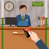 Cassiere della Banca dietro la finestra Mano con la carta Soldi di deposito nel conto bancario Pagamento di credito o della carta illustrazione di stock