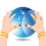 Cassiere di fortuna con la sfera di cristallo Fotografie Stock Libere da Diritti