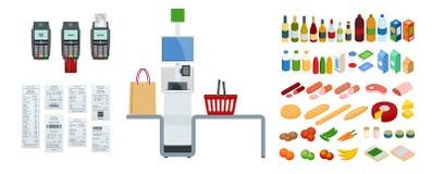 Cassiere o terminale isometrico di self service Il punto con self service checkout nel supermercato illustrazione vettoriale