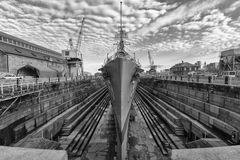 Cassin Youg. The Second World War Destroyer Cassin Young in a dry doc for restoration in Charlestown, Massachusetts, USA Stock Photography