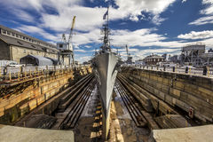 Cassin Young. The Second World War Destroyer Cassin Young at a Dry Doc in Charlestown, Massachusetts, USA Royalty Free Stock Photo