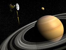 Cassini spacecraft near Saturn and titan satellite - 3D render Stock Photos