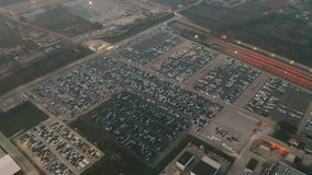 CASSINO, ITALY - DECEMBER 28, 2018. Aerial view of FCA Italy S.p.A. Cassino automotive plant new cars storage. CASSINO, ITALY - DECEMBER 28, 2018. Aerial shot of royalty free stock photo