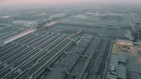 CASSINO, ITALY - DECEMBER 28, 2018. FCA Italy S.p.A. Cassino car plant in the evening, aerial view. CASSINO, ITALY - DECEMBER 28, 2018. Aerial view of FCA Italy royalty free stock image