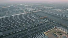 Cassino, Italy - December 28, 2018. FCA Italy S.p.A. Cassino car plant in the evening, aerial view. Cassino, Italy - December 28, 2018. Aerial view of FCA Italy stock video