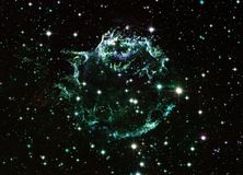 Cassiopeia A Enhanced Universe Image Elements From NASA / ESO | Fractal Art Background Wallpaper stock illustration