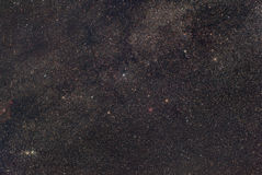 Cassiopeia in the Milky Way. The constellation of Cassiopeia is in a rich part of the milky way, hosting nebulae and star clusters royalty free stock photo