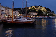 Cassis harbour at the blue hour Stock Photo