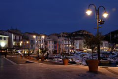 Cassis harbour at night Royalty Free Stock Image