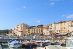 Cassis portu dnia widok, Francja Obrazy Royalty Free