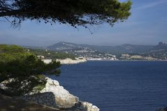 Cassis seen from the sea. France Stock Photo