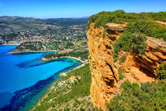 Cassis Town And Cap Canaille Rock, Provence, France Royalty Free Stock Photo