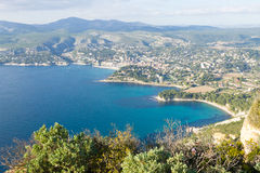 Cassis view from Cape Canaille top, France Stock Images