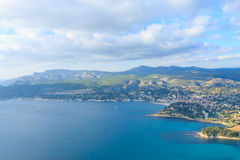 Cassis view from Cape Canaille top, France Stock Photos